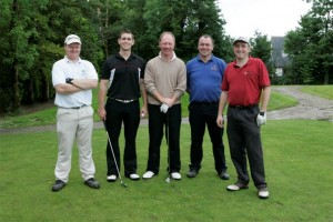 On the 6th hole with Philip Walton Golf Professional were Derek Davis Tipp FM with fellow team members Denis Wade, Brian Cleary and Morris Ryan of Cordis ( Johnson & Johnson) Co. Tipperary.