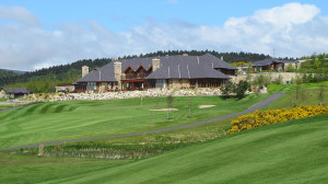 Dun Laoghaire Golf Club clubhouse seen from the 18th fairway