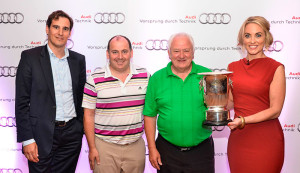 Pictured at the presentation of the Audi Ireland quattro Cup is Audi brand ambassador Kathryn Thomas with (L-R) Christian Gussen, managing director, Audi Ireland; Clement Hehir and Tom Barrett (1st Place representing Audi Cork).